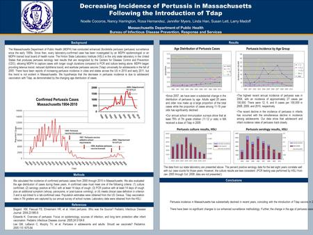 Decreasing Incidence of Pertussis in Massachusetts Following the Introduction of Tdap Noelle Cocoros, Nancy Harrington, Rosa Hernandez, Jennifer Myers,