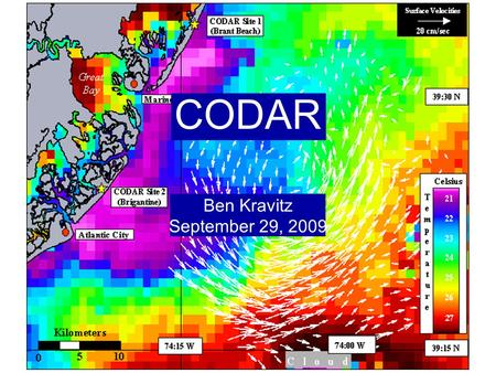 CODAR Ben Kravitz September 29, 2009. Outline What is CODAR? Doppler shift Bragg scatter How CODAR works What CODAR can tell us.