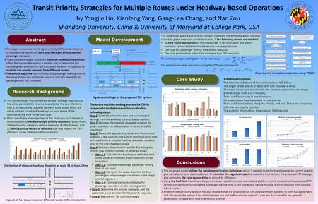 Transit Priority Strategies for Multiple Routes under Headway-based Operations Shandong University, China & University of Maryland at College Park, USA.