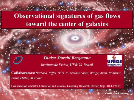 Observational signatures of gas flows toward the center of galaxies Thaisa Storchi Bergmann Instituto de Física, UFRGS, Brazil Collaborators: Barbosa,