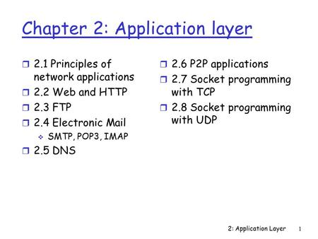 2: Application Layer 1 Chapter 2: Application layer r 2.1 Principles of network applications r 2.2 Web and HTTP r 2.3 FTP r 2.4 Electronic Mail  SMTP,