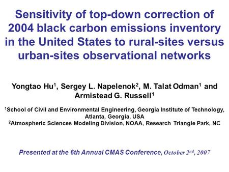 Sensitivity of top-down correction of 2004 black carbon emissions inventory in the United States to rural-sites versus urban-sites observational networks.