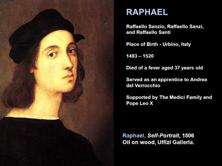 Raphael, Self-Portrait, 1506 Oil on wood, Uffizi Galleria. RAPHAEL Raffaello Sanzio, Raffaello Sanzi, and Raffaello Santi Place of Birth - Urbino, Italy.