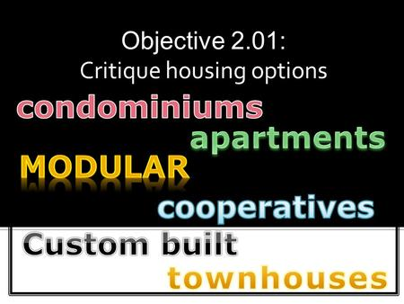 Objective 2.01: Critique housing options.  Multi-family Housing  Single-family Housing.