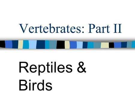 Vertebrates: Part II Reptiles & Birds. Reptiles Dry body covering Scaly skin made of keratin Heart has 3 chambers Well-developed lungs for breathing Toes.