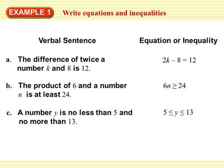 Write equations and inequalities EXAMPLE 1 a. The difference of twice a number k and 8 is 12. b. The product of 6 and a number n is at least 24. 6n ≥ 24.