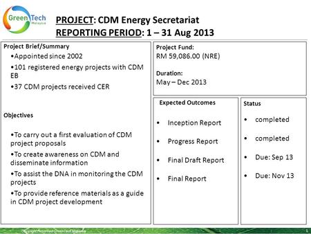 Copyright Reserved GreenTech Malaysia PROJECT: CDM Energy Secretariat REPORTING PERIOD: 1 – 31 Aug 2013 1 Project Brief/Summary Appointed since 2002 101.