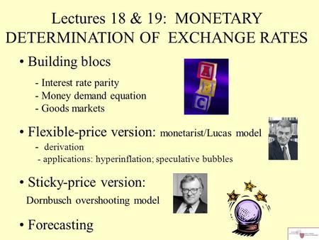 Lectures 18 & 19: MONETARY DETERMINATION OF EXCHANGE RATES
