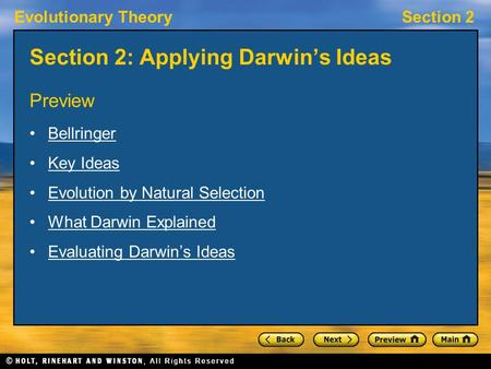 Section 2: Applying Darwin's Ideas