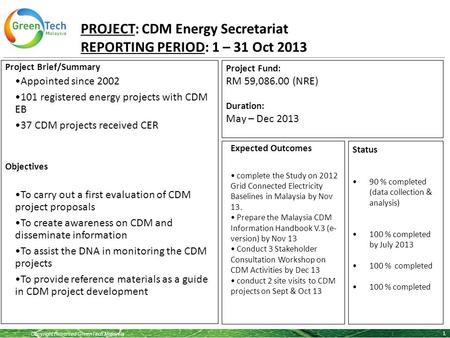 Copyright Reserved GreenTech Malaysia PROJECT: CDM Energy Secretariat REPORTING PERIOD: 1 – 31 Oct 2013 1 Project Brief/Summary Appointed since 2002 101.