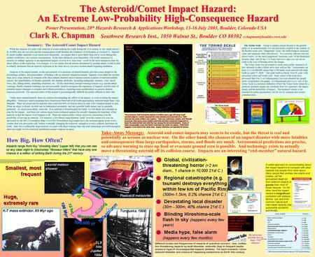 The Asteroid/Comet Impact Hazard: An Extreme Low-Probability High-Consequence Hazard Poster Presentation, 28 th Hazards Research & Applications Workshop,