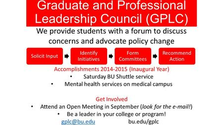Graduate and Professional Leadership Council (GPLC) We provide students with a forum to discuss concerns and advocate policy change Solicit Input Identify.