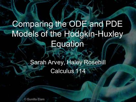 Comparing the ODE and PDE Models of the Hodgkin-Huxley Equation Sarah Arvey, Haley Rosehill Calculus 114.