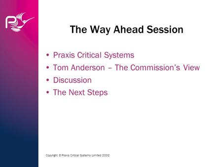 Copyright © Praxis Critical Systems Limited 2002 The Way Ahead Session Praxis Critical Systems Tom Anderson – The Commission's View Discussion The Next.