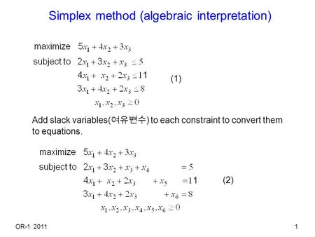 Simplex method (algebraic interpretation)