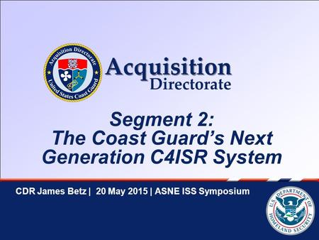 ASNE ISS Symposium| CDR James Betz | 20 May 2015