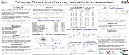 The Immunologic Efficacy of Antiretroviral Therapy among HIV-infected Patients in North America and Africa Elvin Geng* 1, Eric Vittinghoff 1, Jean Nachega.