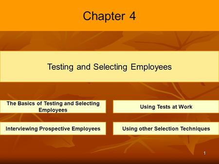 1 Chapter 4 Testing and Selecting Employees The Basics of Testing and Selecting Employees Using Tests at Work Interviewing Prospective EmployeesUsing other.