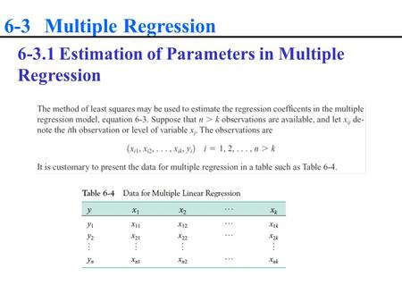 6-3 Multiple Regression 6-3.1 Estimation of Parameters in Multiple Regression.