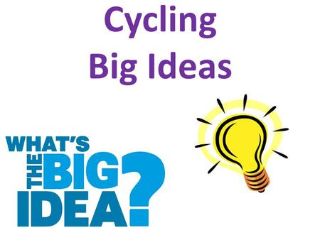 Cycling Big Ideas.
