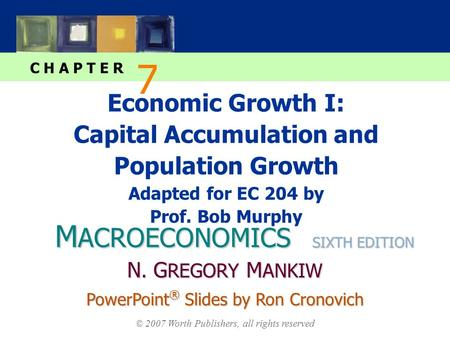 M ACROECONOMICS C H A P T E R © 2007 Worth Publishers, all rights reserved SIXTH EDITION PowerPoint ® Slides by Ron Cronovich N. G REGORY M ANKIW Economic.