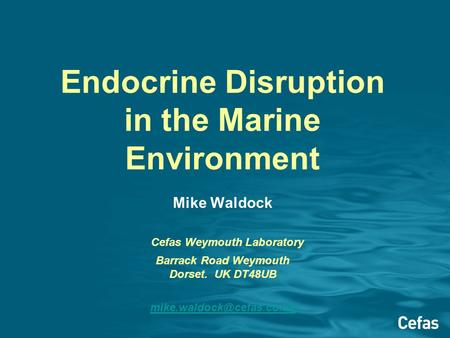 Endocrine Disruption in the Marine Environment Mike Waldock Cefas Weymouth Laboratory Barrack Road Weymouth Dorset. UK DT48UB