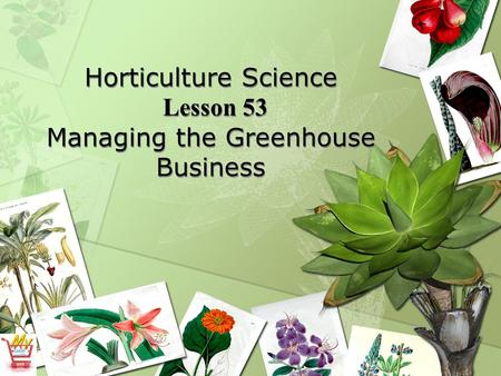 Horticulture Science Lesson 53 Managing the Greenhouse Business.