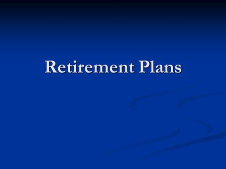 Retirement Plans. Long Term Saving Two main reasons to save money for the long term: to build a retirement fund and to afford your child's education Two.