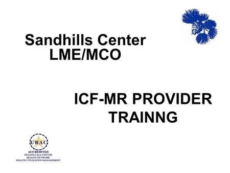 ICF-MR PROVIDER TRAINNG Sandhills Center LME/MCO.