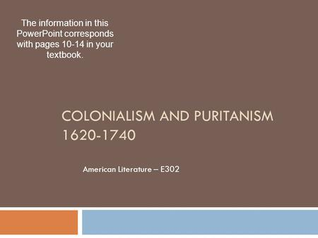 Colonialism and Puritanism