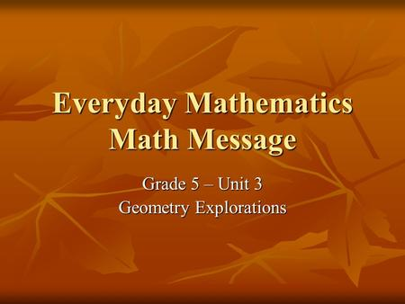 Everyday Mathematics Math Message