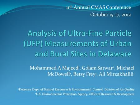 11 th Annual CMAS Conference October 15-17, 2012 1 Mohammed A Majeed 1, Golam Sarwar 2, Michael McDowell 1, Betsy Frey 1, Ali Mirzakhalili 1 1 Delaware.