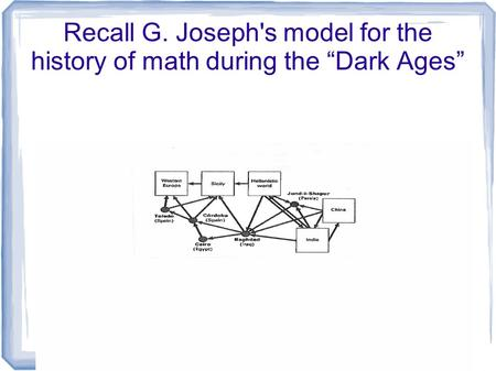 "Recall G. Joseph's model for the history of math during the ""Dark Ages"""