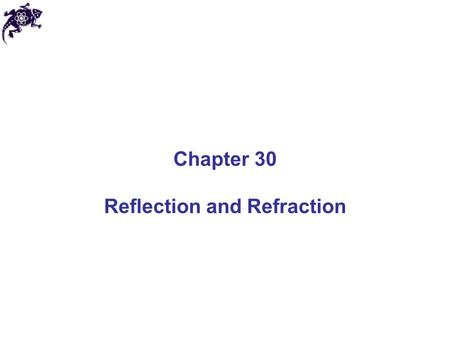 Chapter 30 Reflection and Refraction. Geometric Optics and Ray Approximation Light travels in a straight-line path in a homogeneous medium until it encounters.