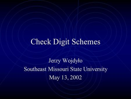 check digit schemes essay A check digit scheme is a standardized method that is used to verify the authenticity of a number captured at the pos terminal for items such as bank credit cards, gift certificates, or upc labels a check digit scheme consists of a defined algorithm that is applied against the captured number with.
