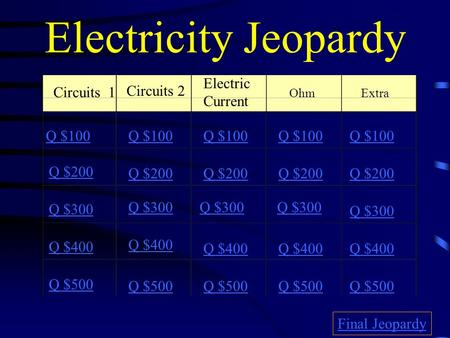 Electricity Jeopardy Circuits 1 Circuits 2 Electric Current OhmExtra Q $100 Q $200 Q $300 Q $400 Q $500 Q $100 Q $200 Q $300 Q $400 Q $500 Final Jeopardy.