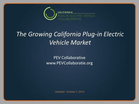 The Growing California Plug-in Electric Vehicle Market PEV Collaborative www.PEVCollaboratie.org Updated: October 7, 2014.