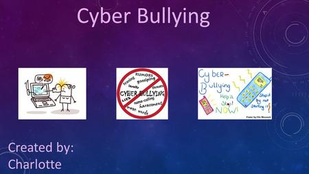 Cyber Bullying Created by: Charlotte. Cyber Bullying: The act of bullying, threatening, or harming a person online through messages or pictures.