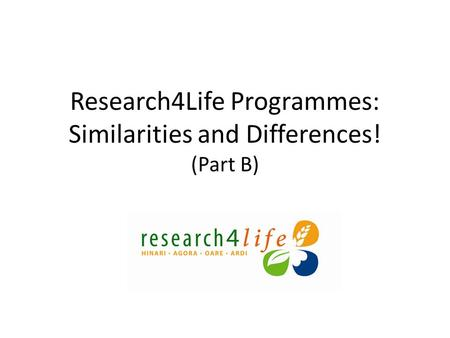 Research4Life Programmes: Similarities and Differences! (Part B)