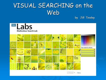 VISUAL SEARCHING on the Web by Jill Tinsley. Visual searching on the web Web searching