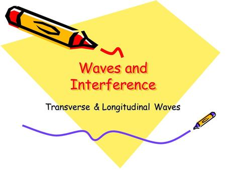 Waves and Interference Transverse & Longitudinal Waves.