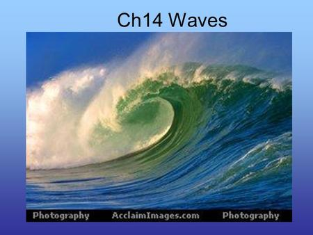 Ch14 Waves. Wave Types Mechanical Waves: require a material medium to propagate. WaterRope SpringsSound 3 types of Mechanical Waves –Transverse –Longitudinal.