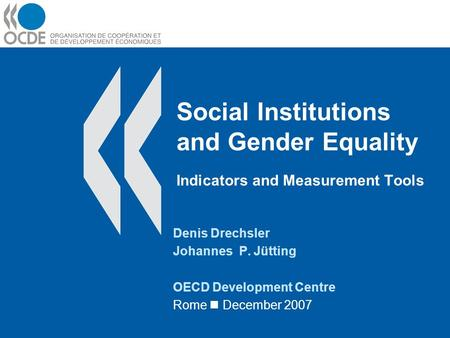 Social Institutions and Gender Equality Indicators and Measurement Tools Denis Drechsler Johannes P. Jütting OECD Development Centre Rome December 2007.