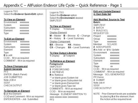 Appendix C – AllFusion Endevor Life Cycle – Quick Reference - Page 1 Logon to TSO Select the Endevor Quick-Edit option To View an Element Environment xxxxxxxx.