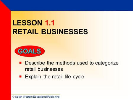 LESSON 1.1 RETAIL BUSINESSES