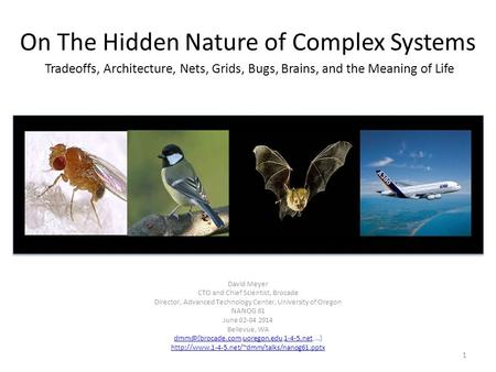 On The Hidden Nature of Complex Systems Tradeoffs, Architecture, Nets, Grids, Bugs, Brains, and the Meaning of Life David Meyer CTO and Chief Scientist,