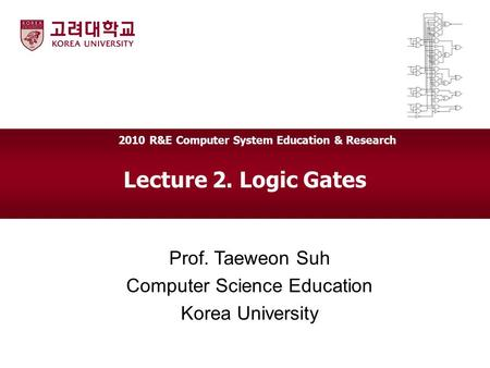 Lecture 2. Logic Gates Prof. Taeweon Suh Computer Science Education Korea University 2010 R&E Computer System Education & Research.