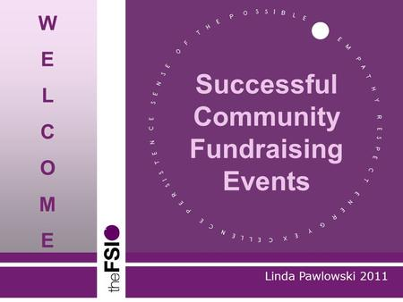 Linda Pawlowski 2011 Successful Community Fundraising Events WELCOMEWELCOME.