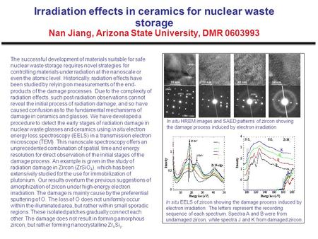 Irradiation effects in ceramics for nuclear waste storage Nan Jiang, Arizona State University, DMR 0603993 The successful development of materials suitable.
