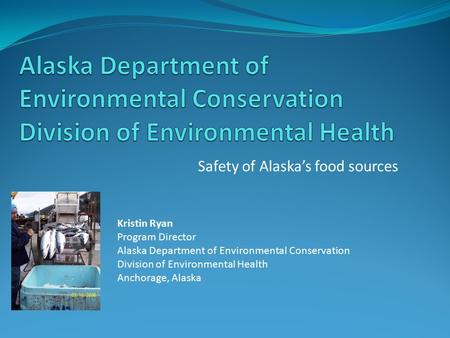 Safety of Alaska's food sources Kristin Ryan Program Director Alaska Department of Environmental Conservation Division of Environmental Health Anchorage,